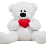 Мишка с сердцем белый Mishka46.ru