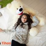 Плюшевый мишка Курск Тихон 130 см Белый 1 Mishka46.ru