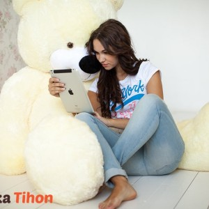 Плюшевый мишка Курск Тихон 200 см Белый Mishka46.ru